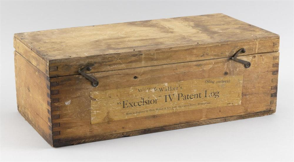 """CASED WALKER'S PATENT EXCELSIOR III YACHT-LOG Case height 5.25"""". Length 15.25"""". Width 7.5""""."""