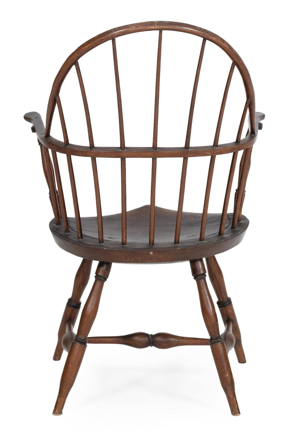 WINDSOR BOWBACK ARMCHAIR Hardwood under an old deep brown finish. Back height 38.25