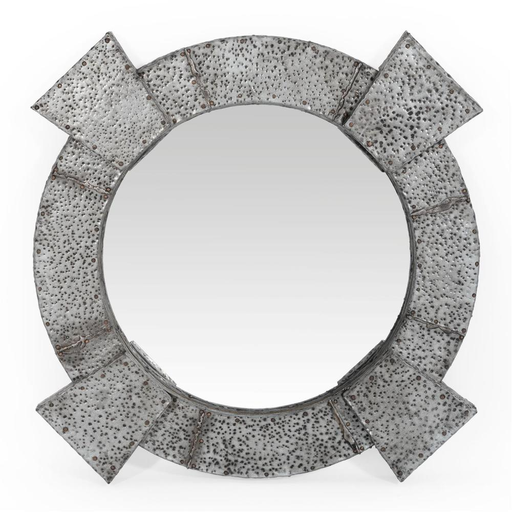 "BRUTALIST HAMMERED ZINC WALL MIRROR Unmarked. Diameter 40""."