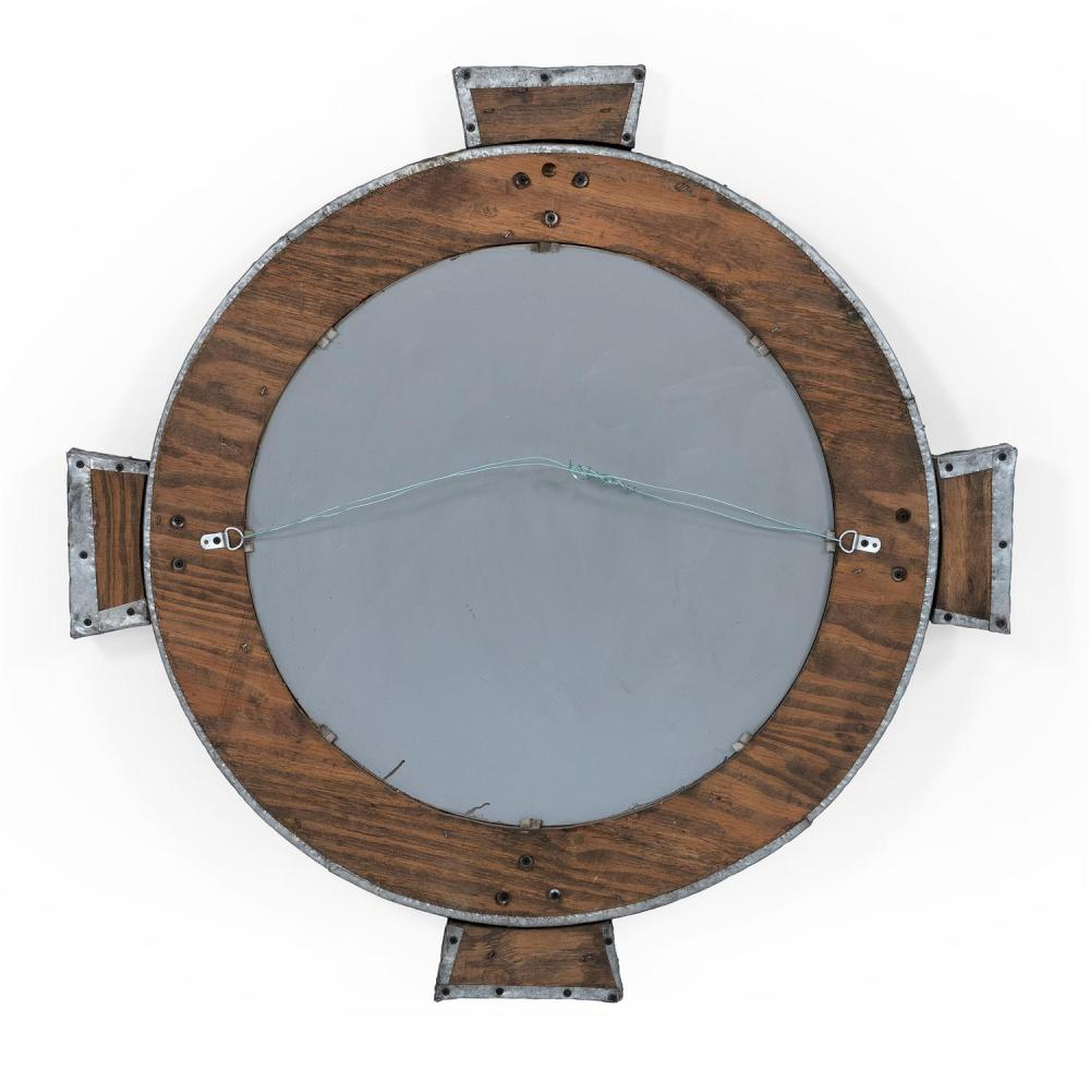 BRUTALIST HAMMERED ZINC WALL MIRROR Unmarked. Diameter 40