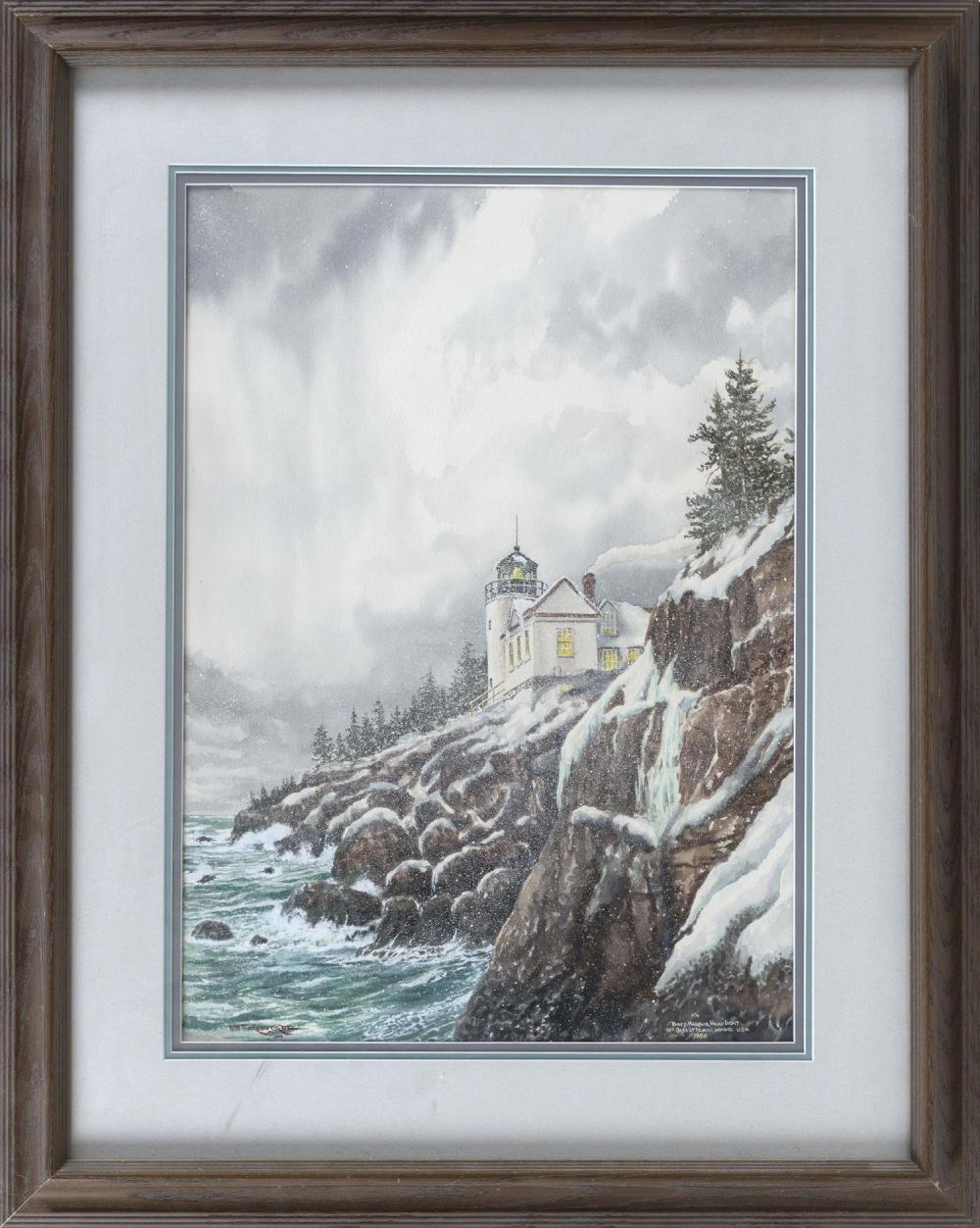 """WATERCOLOR """"BASS HARBOR HEADLIGHT MOUNT DESERT ISLAND"""" Seen in winter. Signed lower right, possibly """"Will Farnivort"""". 21.5"""" x 15"""" si..."""