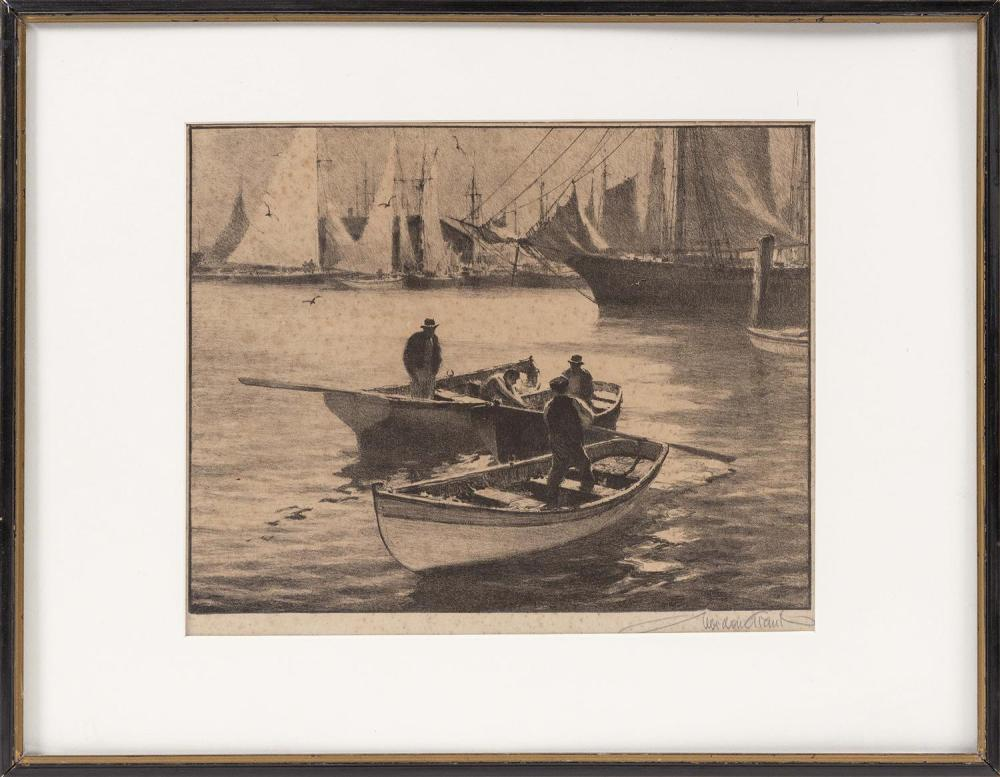 "GORDON HOPE GRANT, New York/California/United Kingdom, 1875-1962, Men in dories in the harbor., Print, 9.5"" x 11.5"" sight. Framed 14..."