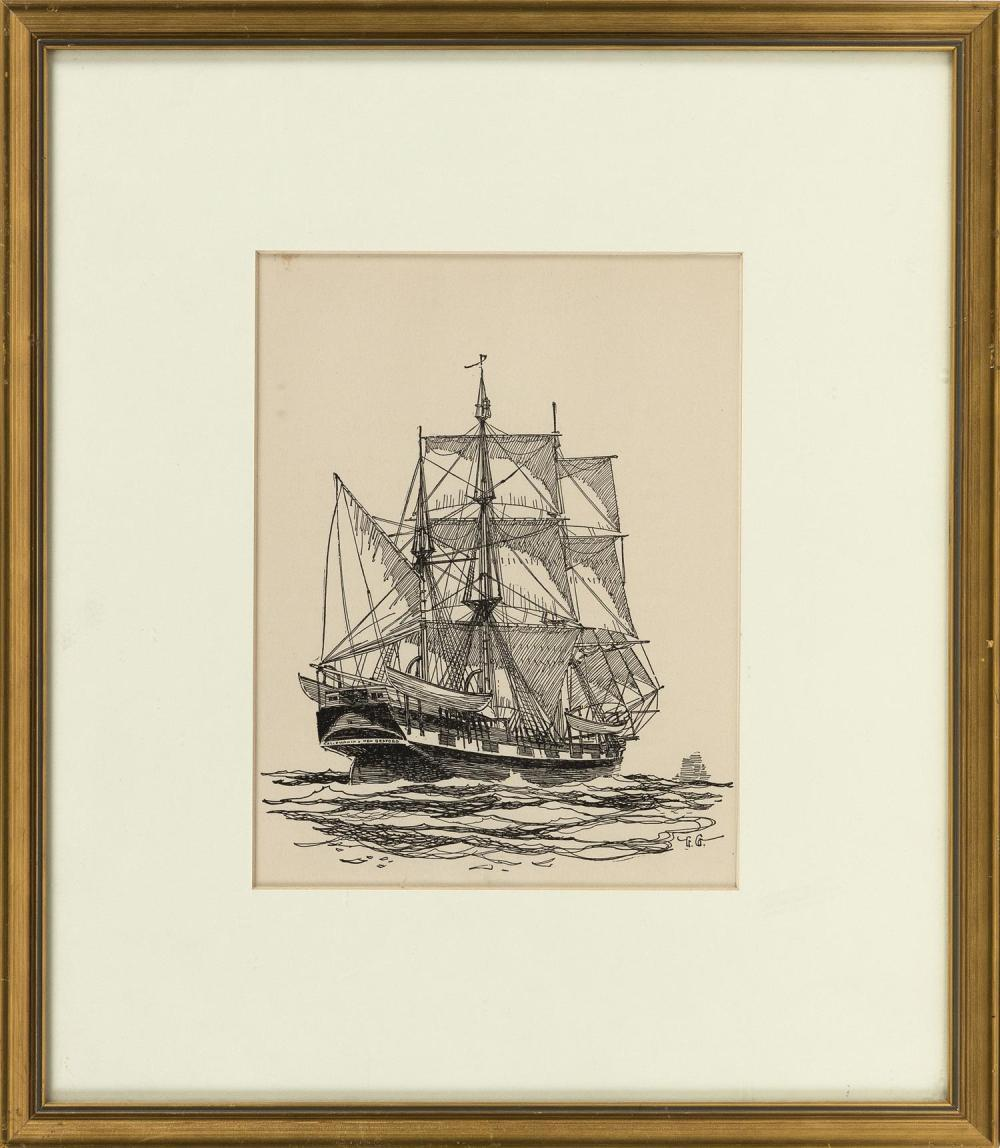 """GORDON HOPE GRANT, New York/California/United Kingdom, 1875-1962, The whaleship California of New Bedford at sea., Pen and ink, 8.5""""..."""
