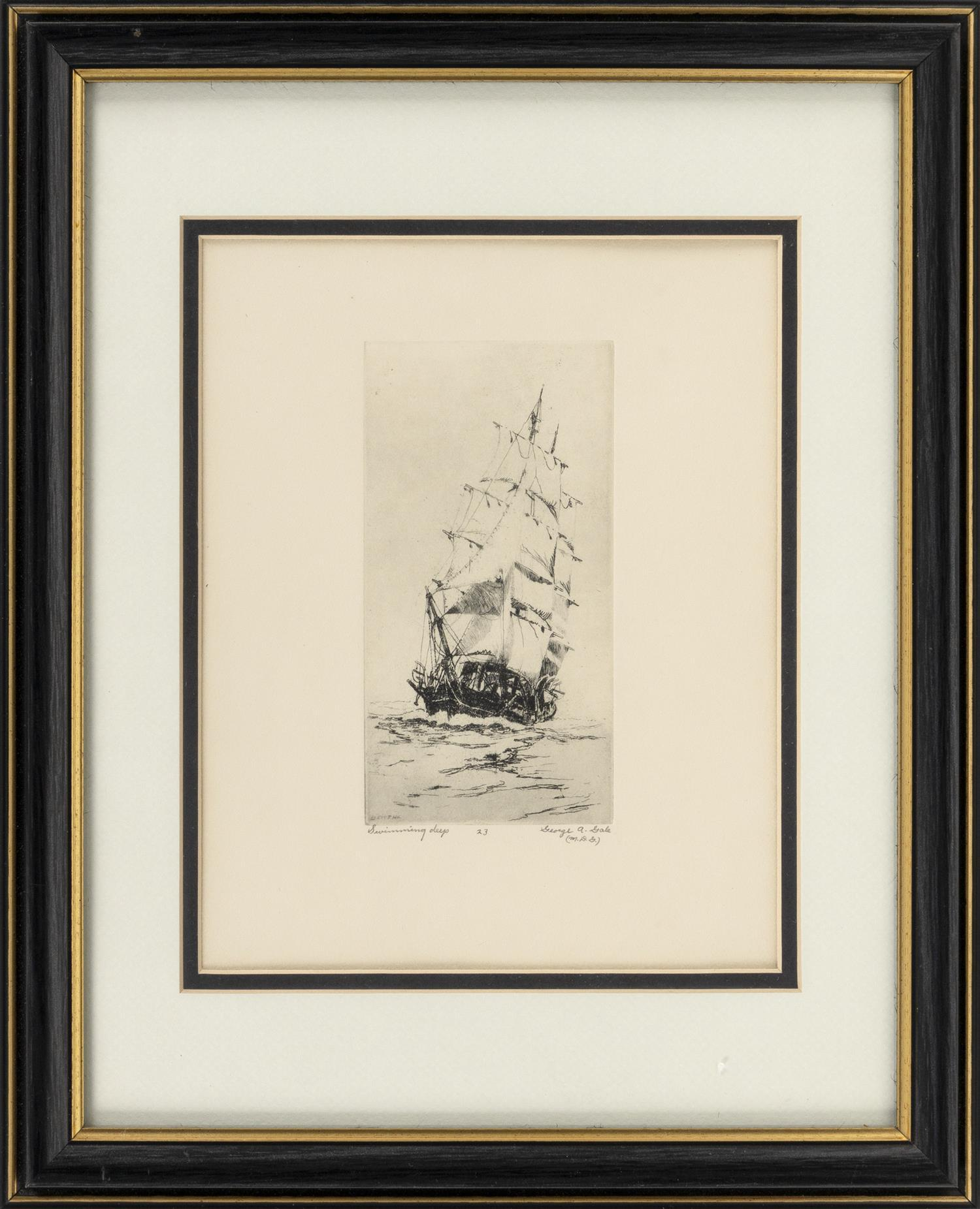 "GEORGE ALBERT GALE, Rhode Island, 1893-1951, ""Swimming Deep""., Etching, 9.5"" x 7.5"" sight. Framed 15.75"" x 12.75""."