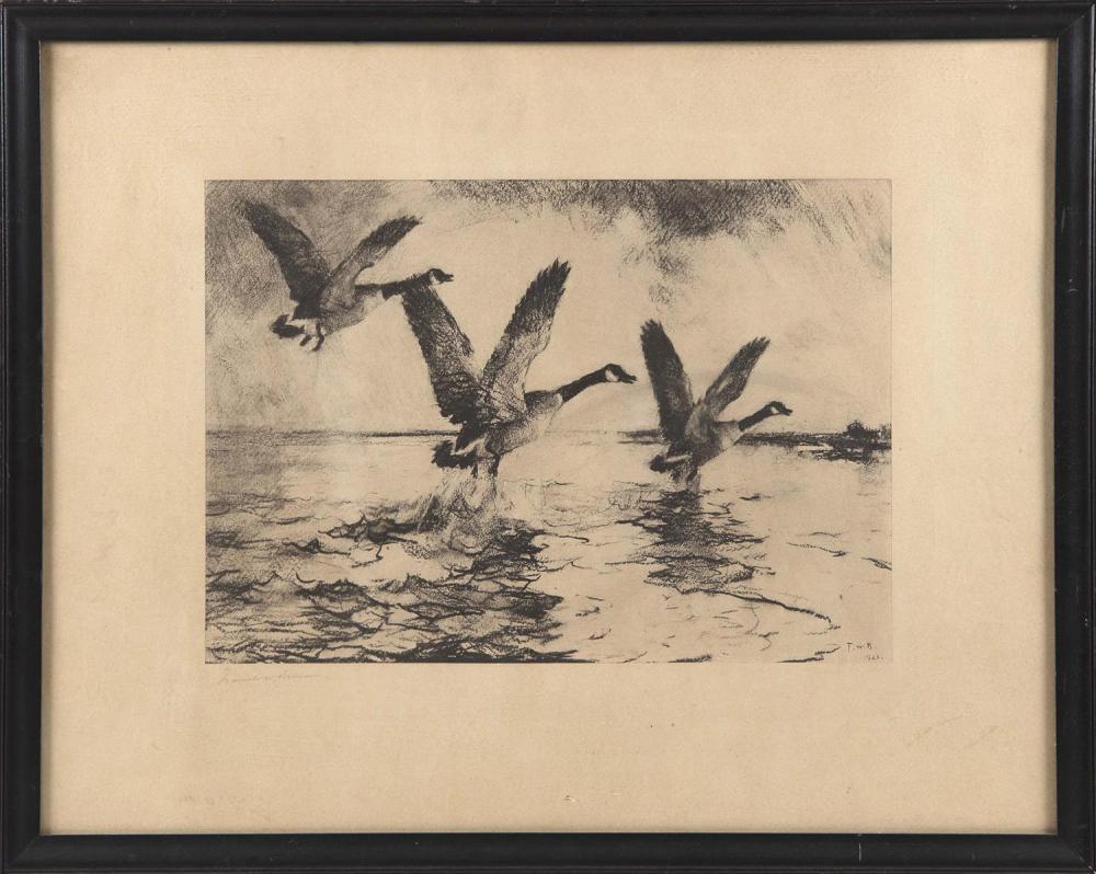 "FRANK WESTON BENSON, Massachusetts, 1862-1951, Geese in flight., Print, 18.5"" x 24"" sight. Framed 20.5"" x 26""."