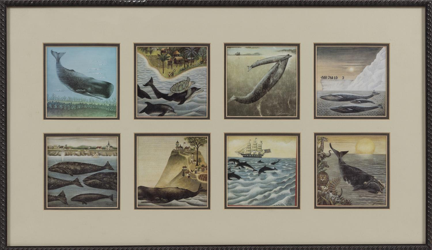 """EIGHT WHALE-THEMED PRINTS Housed together in a common frame. Each print 4.25"""" x 4.25"""" sight. Framed 15"""" x 26""""."""