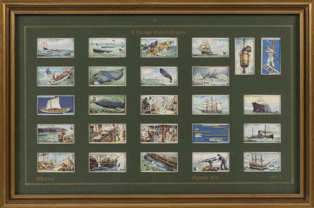 TWENTY-FIVE WHALING-THEMED CIGARETTE CARDS All for Ogden's Cigarettes. Colored images of whaleships, whale boats, whales, implements..