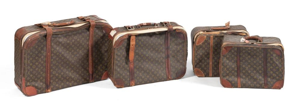 FOUR LOUIS VUITTON SUITCASES Lengths from 18