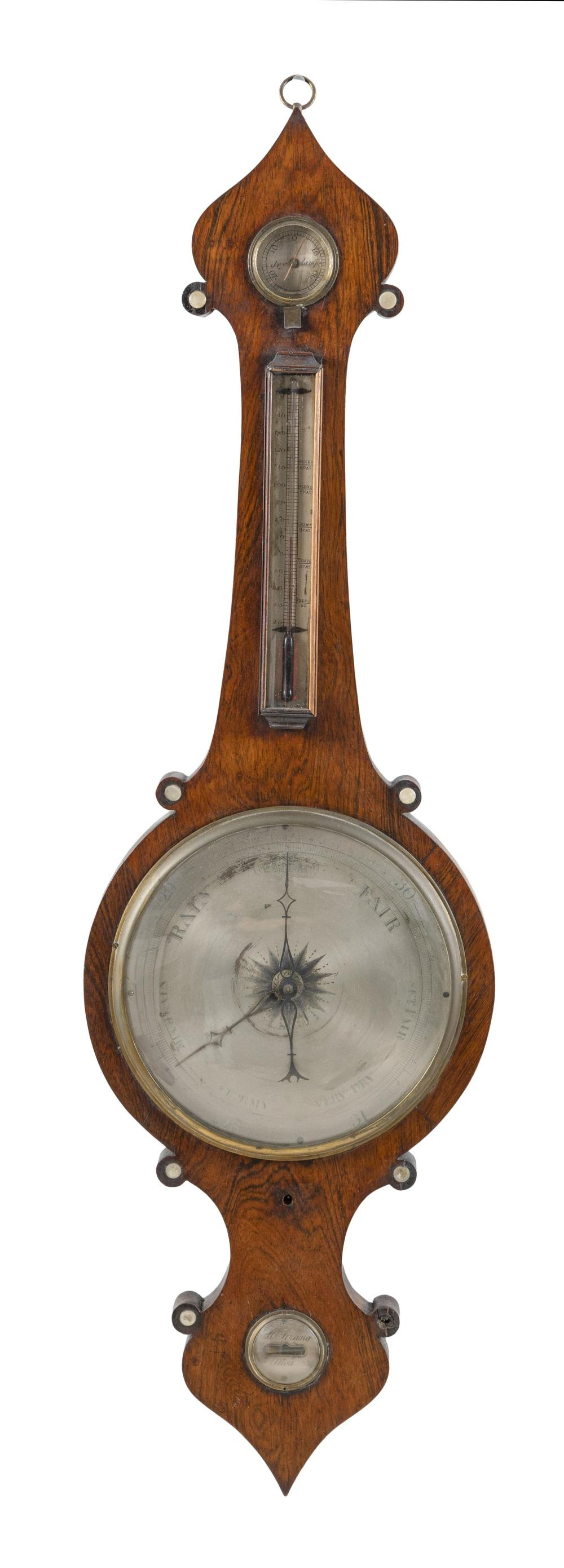ROBERT STRANG BANJO BAROMETER Walnut veneer case. Height 43
