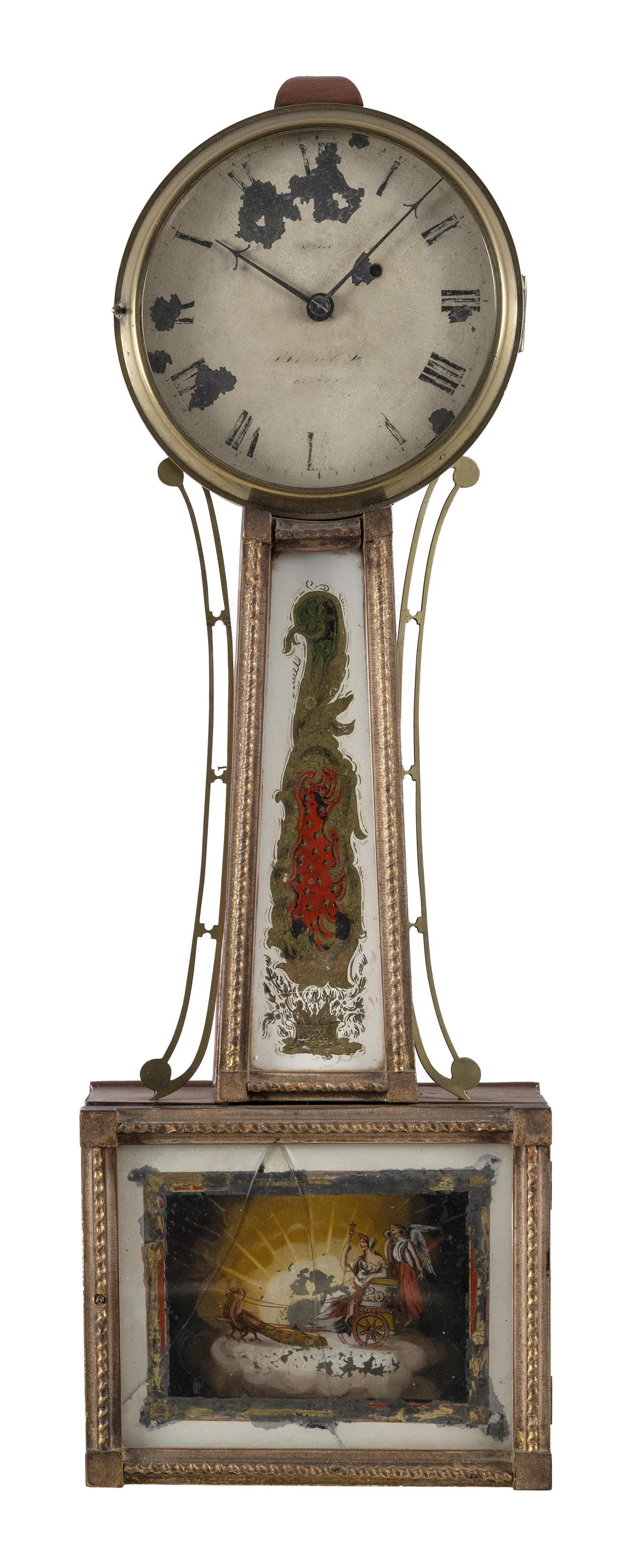 BANJO CLOCK Traces of illegible signature on face, possibly Aaron Willard. Mahogany case with turned wooden finial and brass sidearm...
