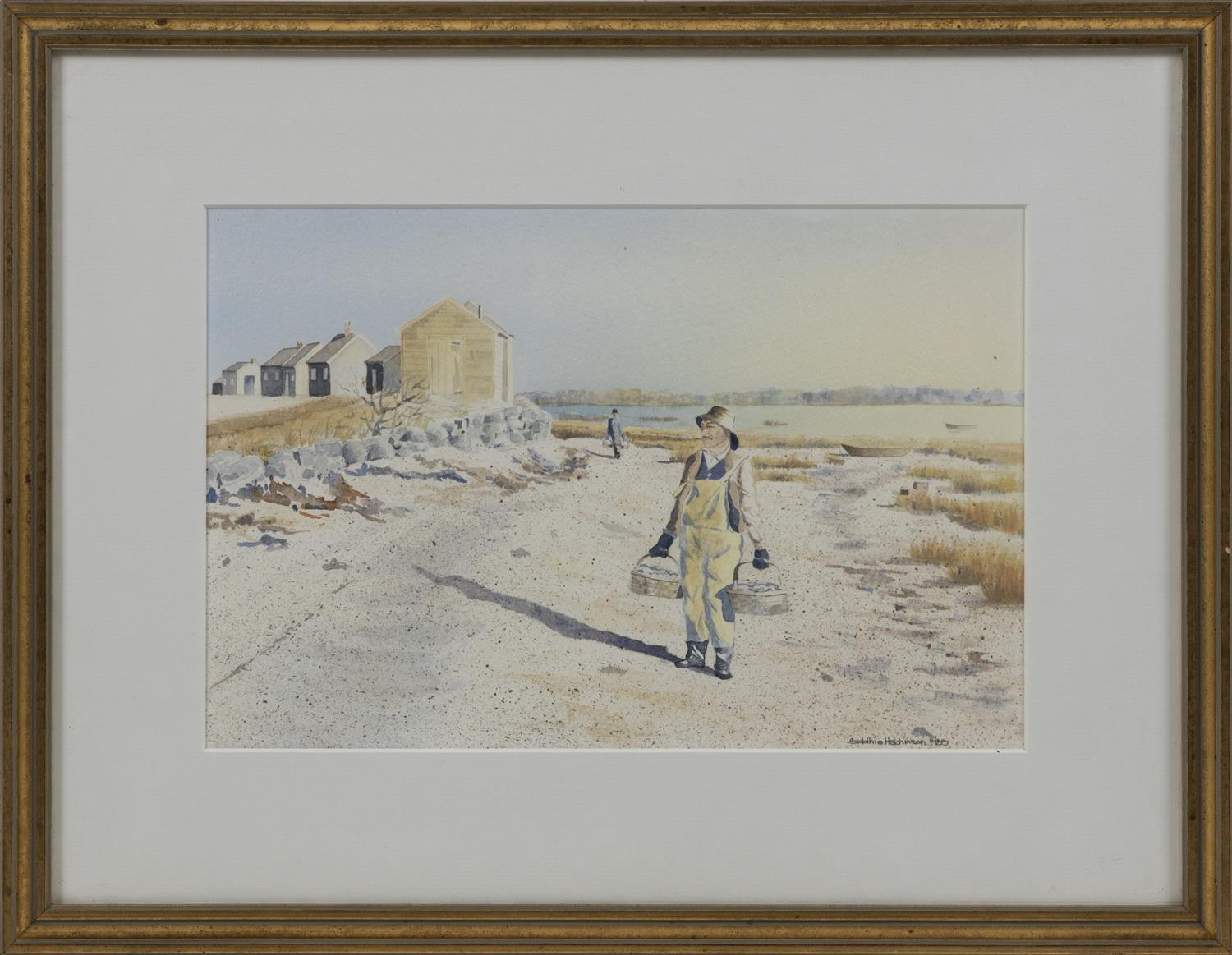 """SIDDHIA HUTCHINSON, Massachusetts/Puerto Rico, Contemporary, A fisherman carring baskets., Watercolor on paper, 9"""" x 13"""" sight. Fram..."""