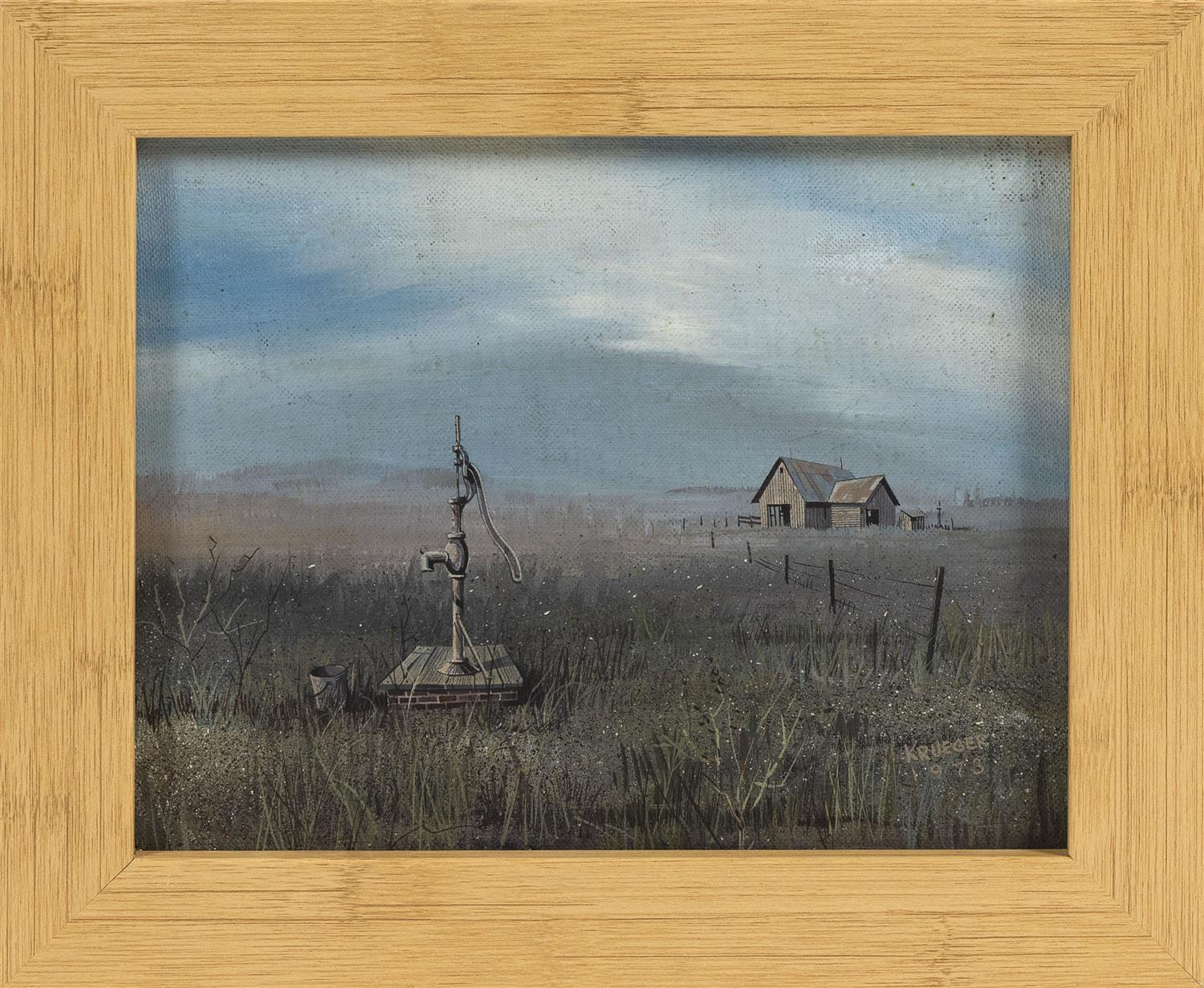 "AMERICAN SCHOOL, Dated 1973, An old farm with a well pump., Oil on board, 8"" x 10"". Framed 10"" x 12""."