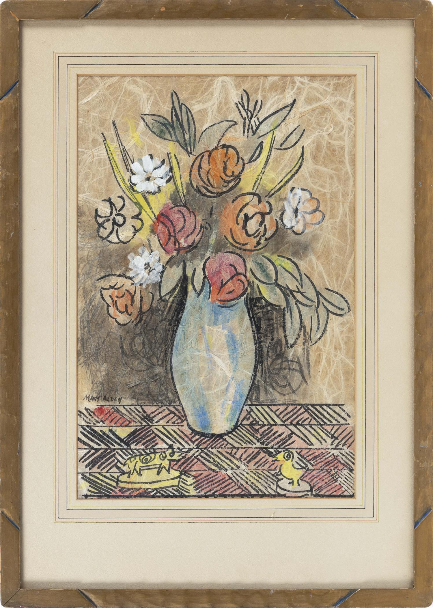 """MARY ALDEN, America, 20th Century, Floral still life., Hand-touched print on woven paper, 19"""" x 12.5"""". Framed 27"""" x 19.5""""."""