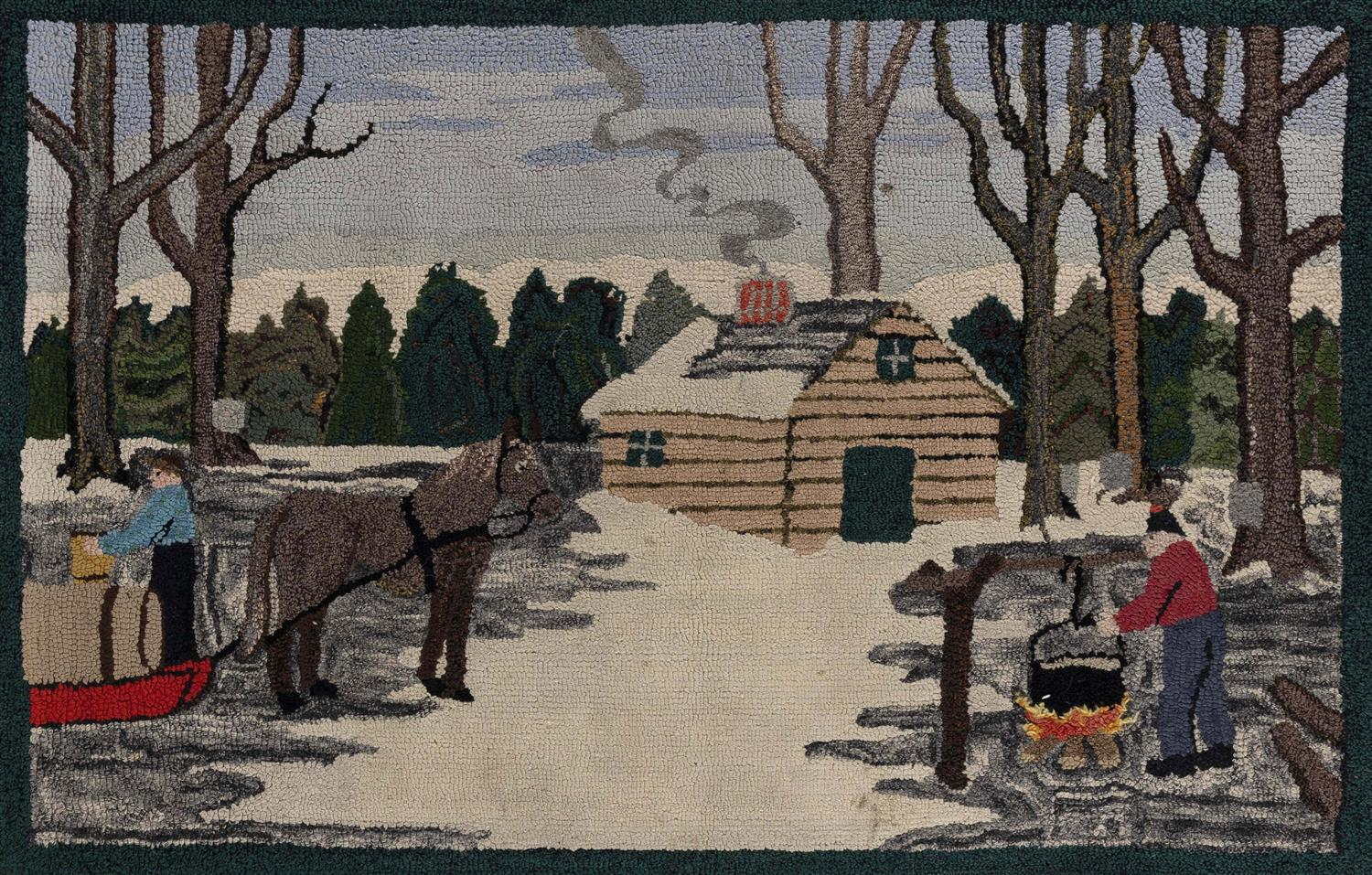 "HOOKED RUG WITH MAPLE SUGARING SCENE 26"" x 39"" First Half of the 20th Century."
