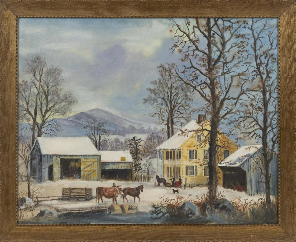 "STYLE OF GEORGE HENRY DURRIE, America, Dated 1964, New England winter scene., Oil on board, 22"" x 28"". Framed 25.5"" x 31""."