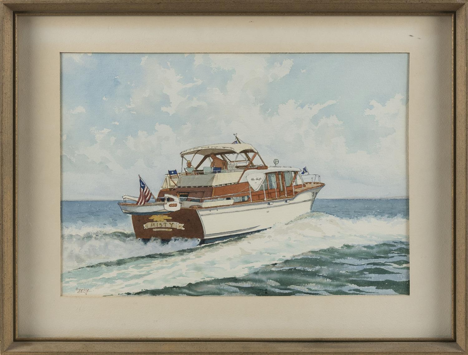 "ROGER EPPLY, Connecticut, 1919-1996, The Chris-Craft sports fisherman Misty., Watercolor on paper, 13"" x 18.75"". Framed 19"" x 25""."