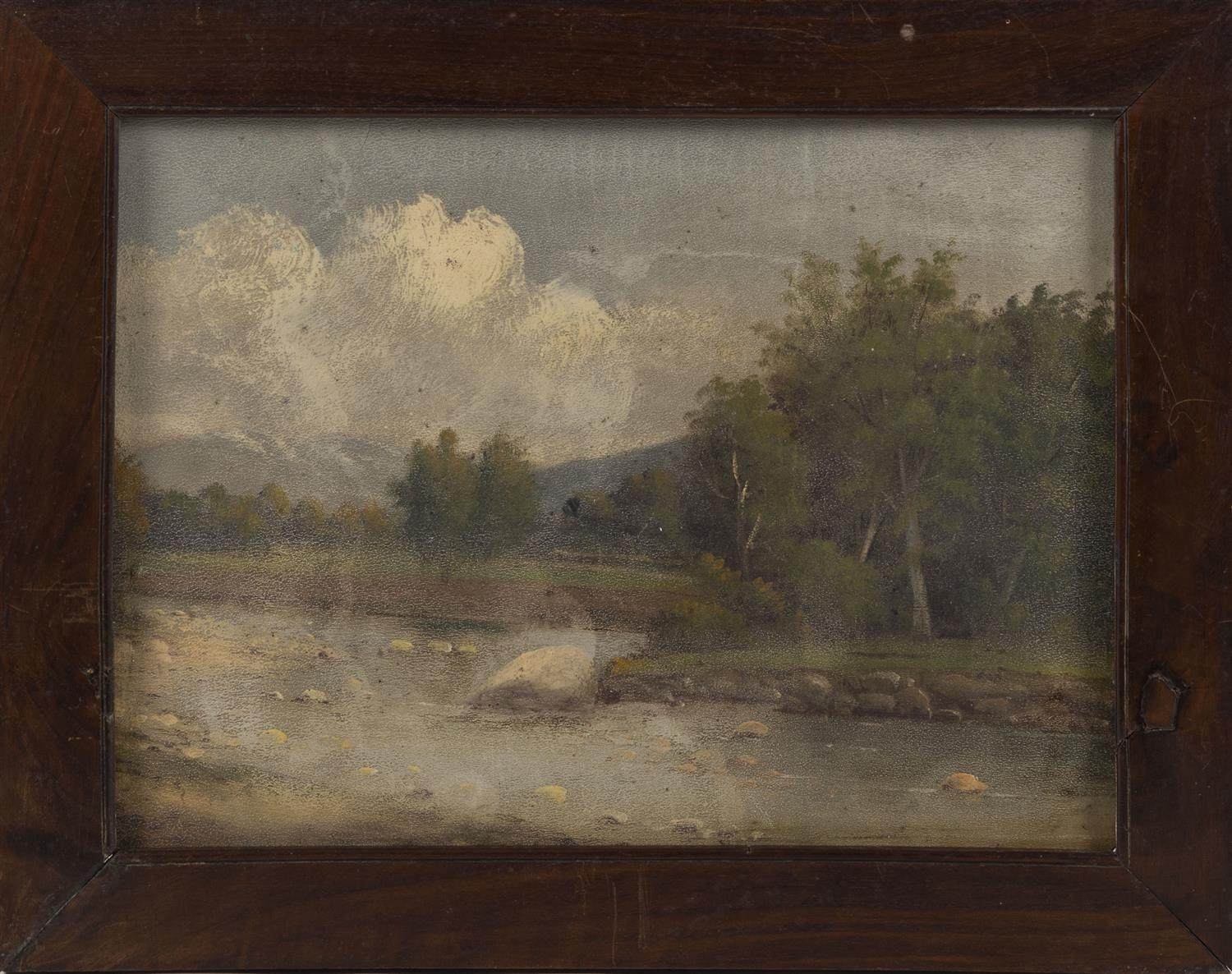 """AMERICAN SCHOOL, Late 19th Century, Landscape with mountain and river., Oil on artist board, 9"""" x 12"""". Framed 11.5"""" x 14.5""""."""