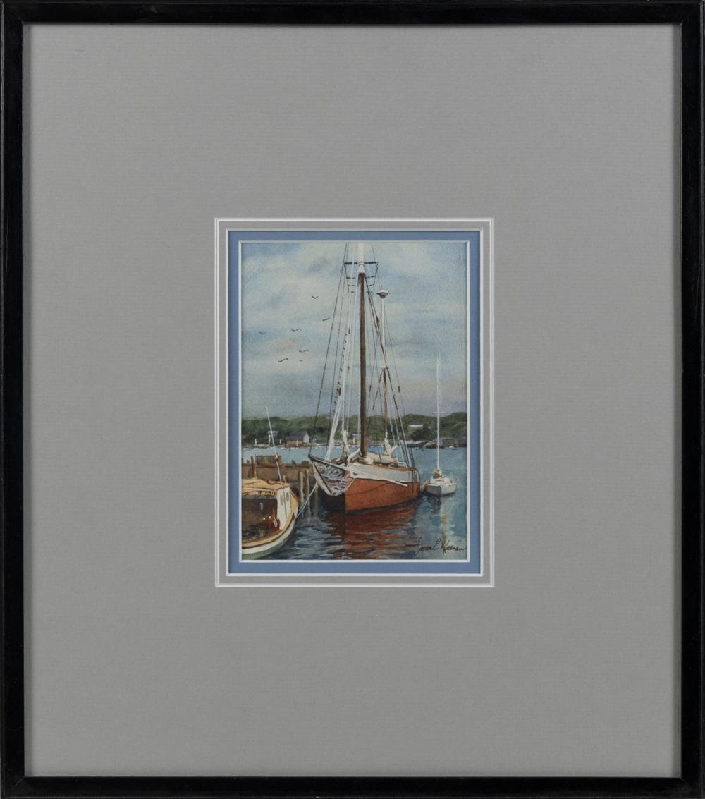 "JOAN E. MEENAN, Massachusetts, 1926-2016, The Mimi., Watercolor on paper, 6.5"" x 4.75"" sight. Framed 16.75"" x 14.75""."