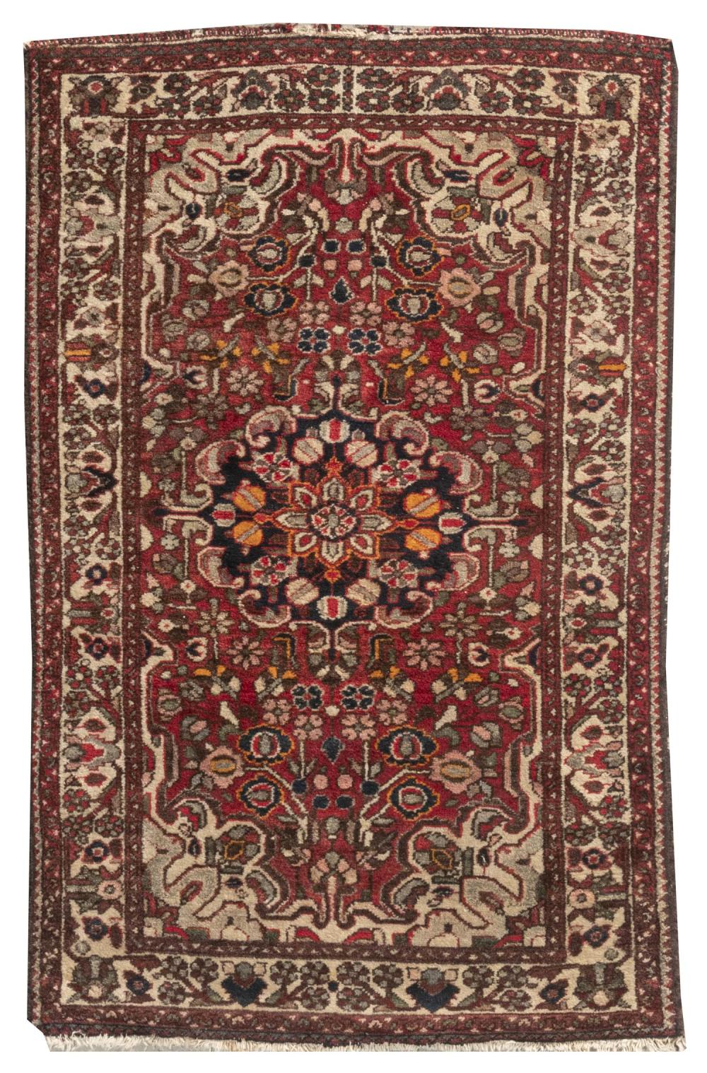 "ORIENTAL RUG: HAMADAN 3'4"" x 5'2"" Midnight blue medallion at the center of a dark red field with gray and ivory spandrels. Flower bl."