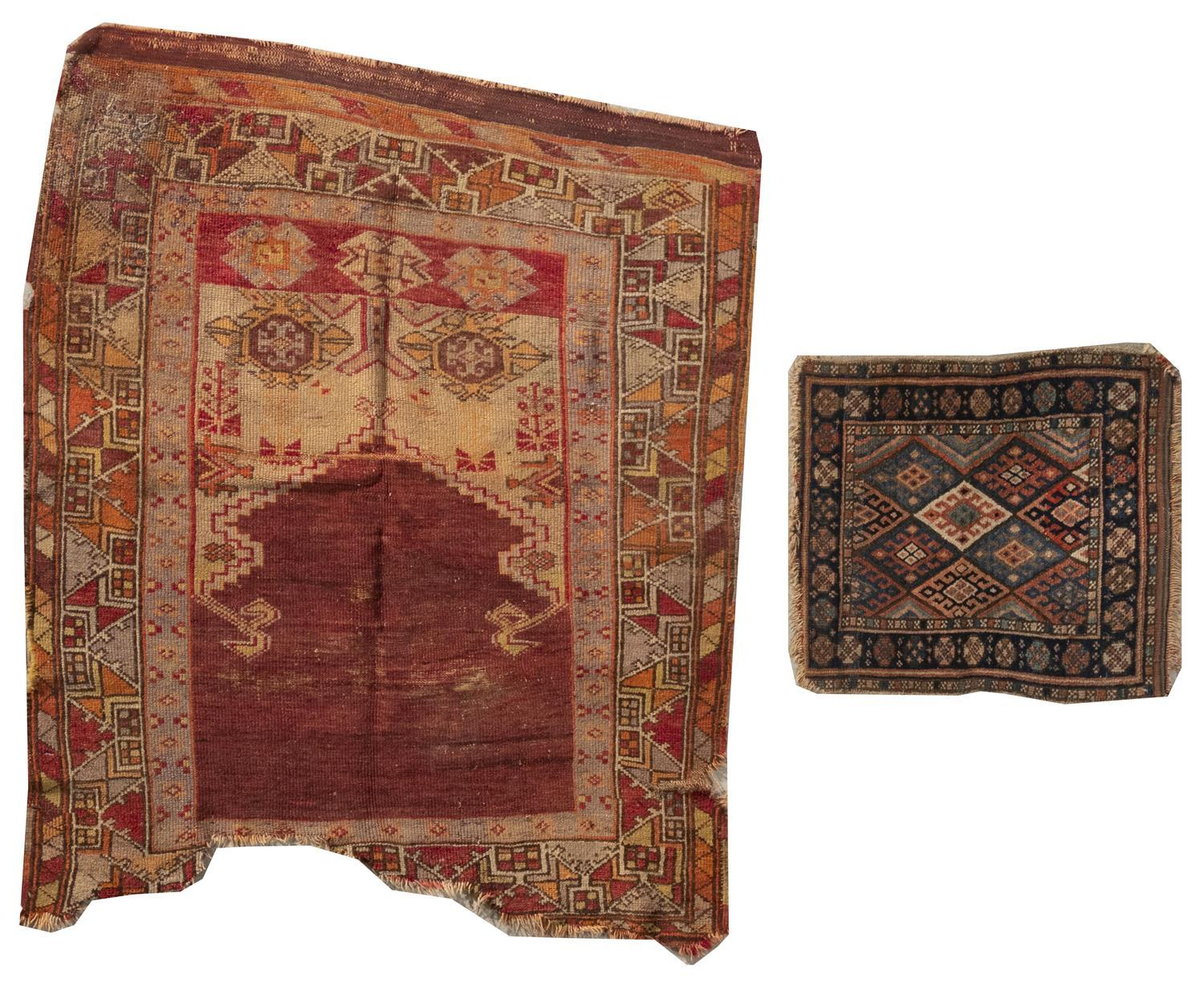 "TWO ORIENTAL RUGS: KURD JAFFE AND TURKISH PRAYER 1'9"" x 2'6"" and 3'8"" x 4'2"" Jaffe with traditional contiguous colorful diamonds su"