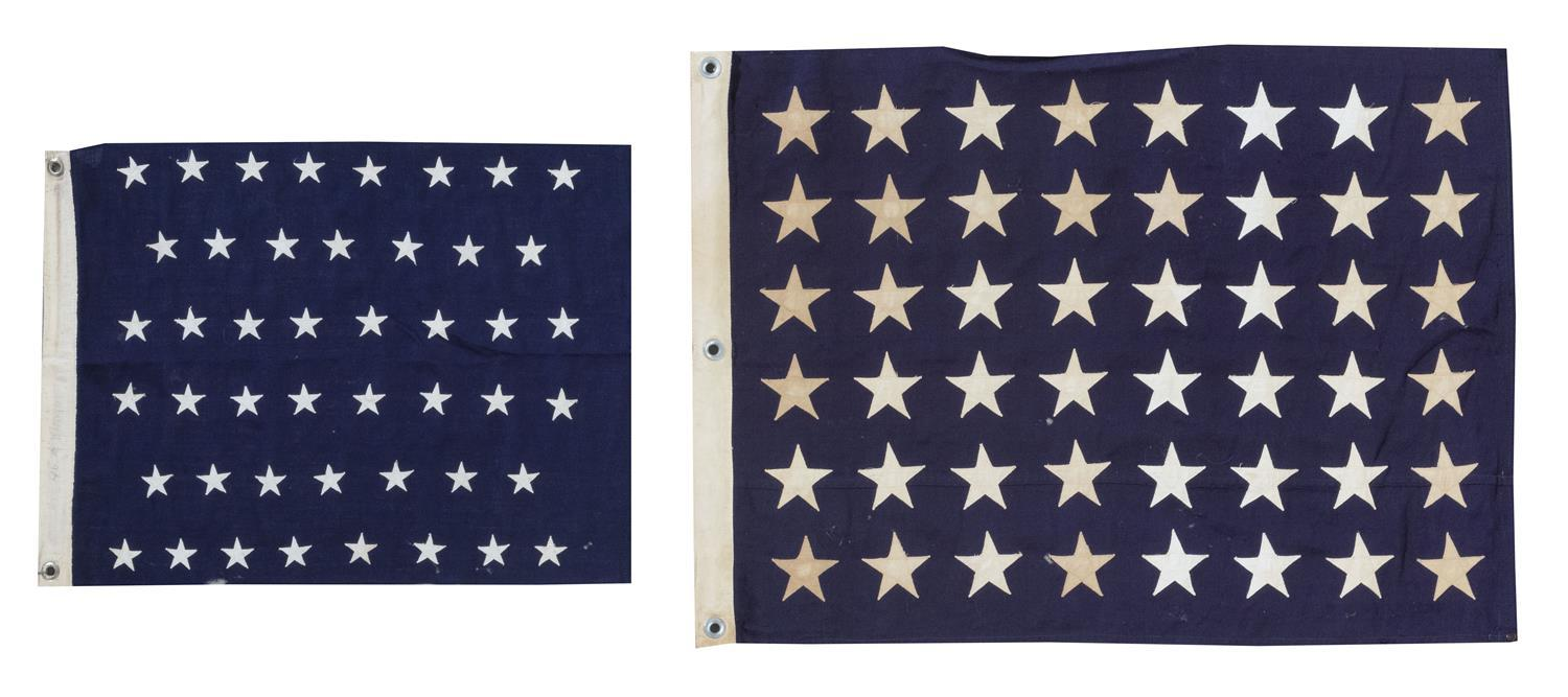 """TWO U.S. UNION JACK ENSIGNS Both with white stars on a blue field. One with 46 stars. The other with 48 stars, marked """"Union Jack No..."""