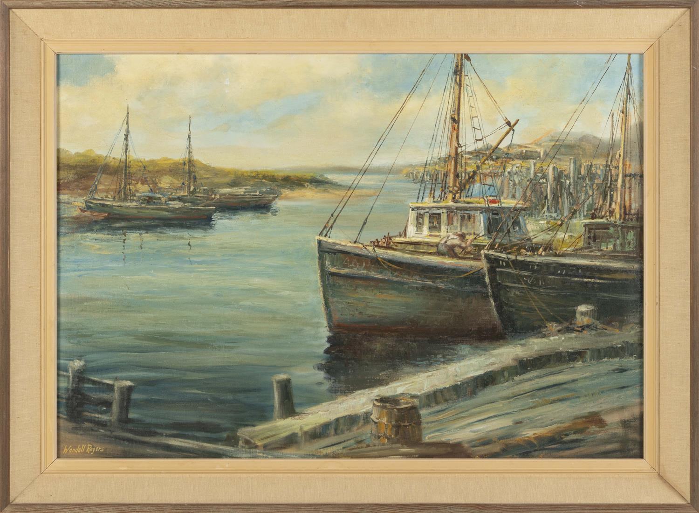 """WENDELL M. ROGERS, Massachusetts, 1890-1973, Harbor scene., Oil on canvas, 25"""" x 36"""". Framed 30.75"""" x 41.75""""."""