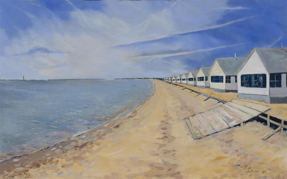 "B. WALLACE, Cape Cod, Contemporary, Beach cotttages, Truro, Massachusetts., Oil on canvas, 20"" x 32"". Unframed."