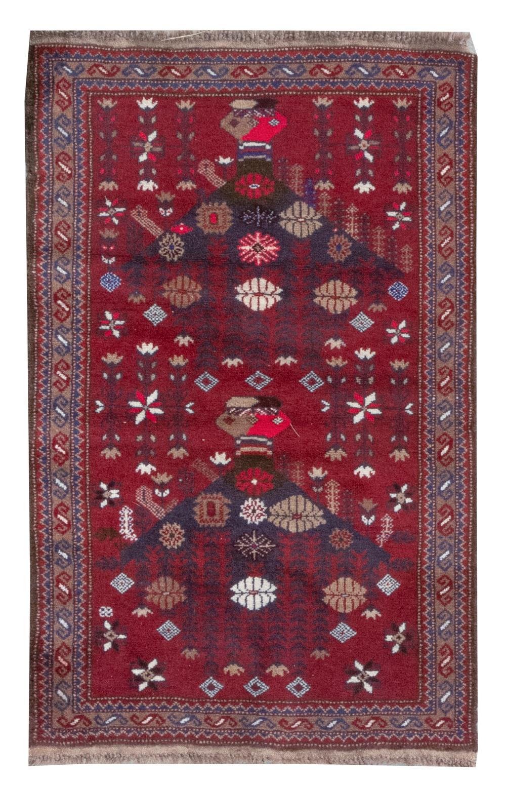 "ORIENTAL RUG: BELOUCH PRAYER 2'7"" x 4'2"" Dark red field with blossoms and delicate branches throughout, and unusual charcoal and dar."