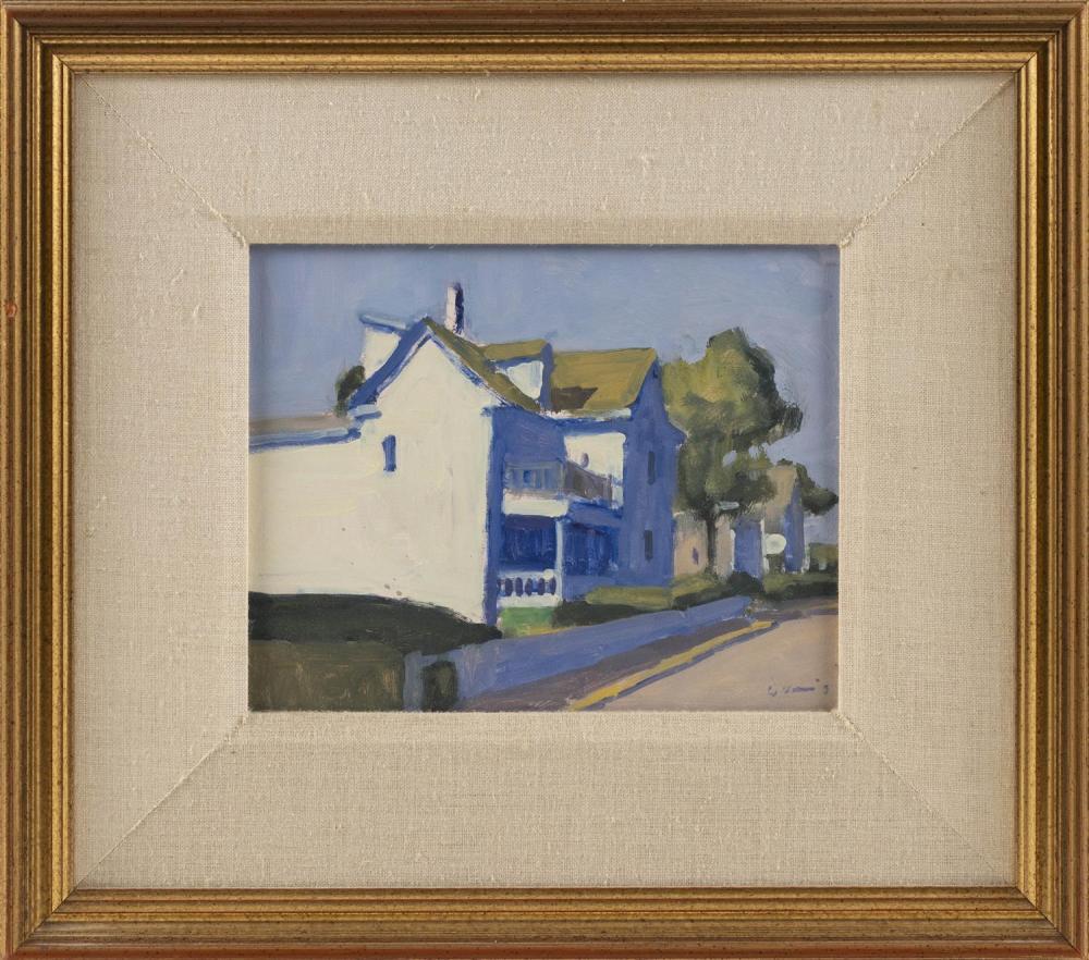 "MICHAEL DAVIS, Massachusetts, b. 1945, ""Guest House"" (Tall Ship), Provincetown, Massachusetts, 1993., Oil on board, 8"" x 10"". Framed..."