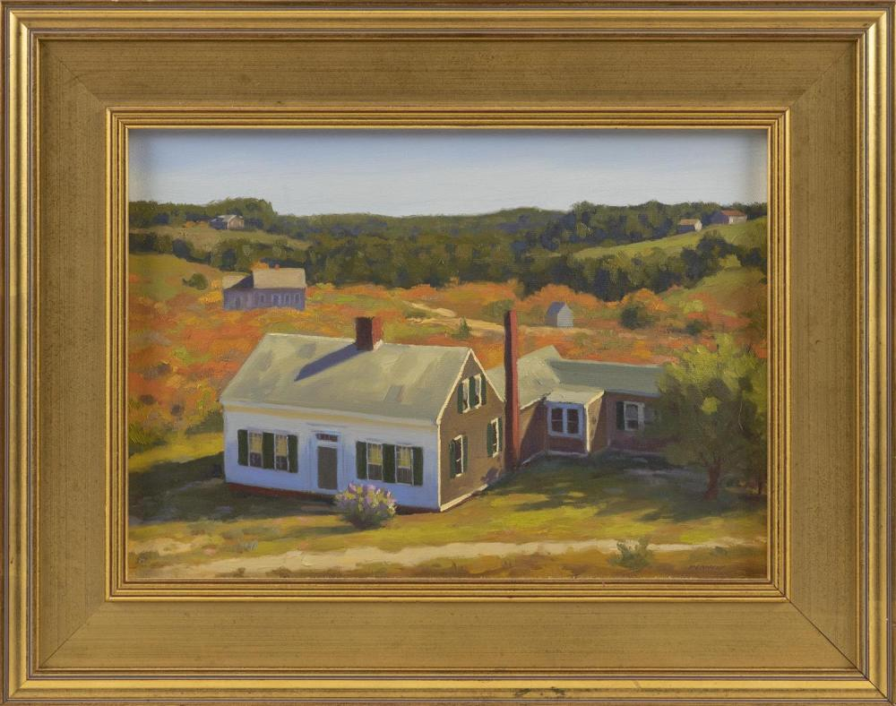 "STEVE KENNEDY, Massachusetts/Maine, Contemporary, ""Truro Spring""., Oil on canvas, 10"" x 14"". Framed 15"" x 19""."