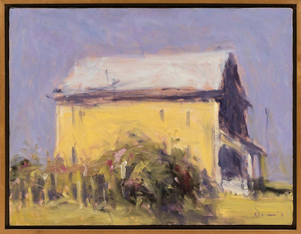 "MICHAEL DAVIS, Massachusetts, b. 1945, ""Yellow House""., Oil on canvas, 14"" x 18"". Framed 15"" x 19""."