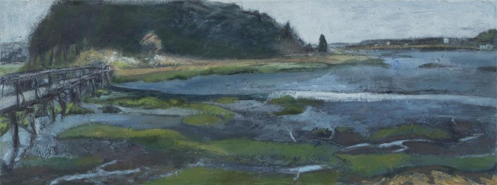 "NANCY NICOL, Massachusetts, Contemporary, Uncle Tim's Bridge, Wellfleet, Massachusetts., Oil on canvas, 13.5"" x 36"". Unframed."