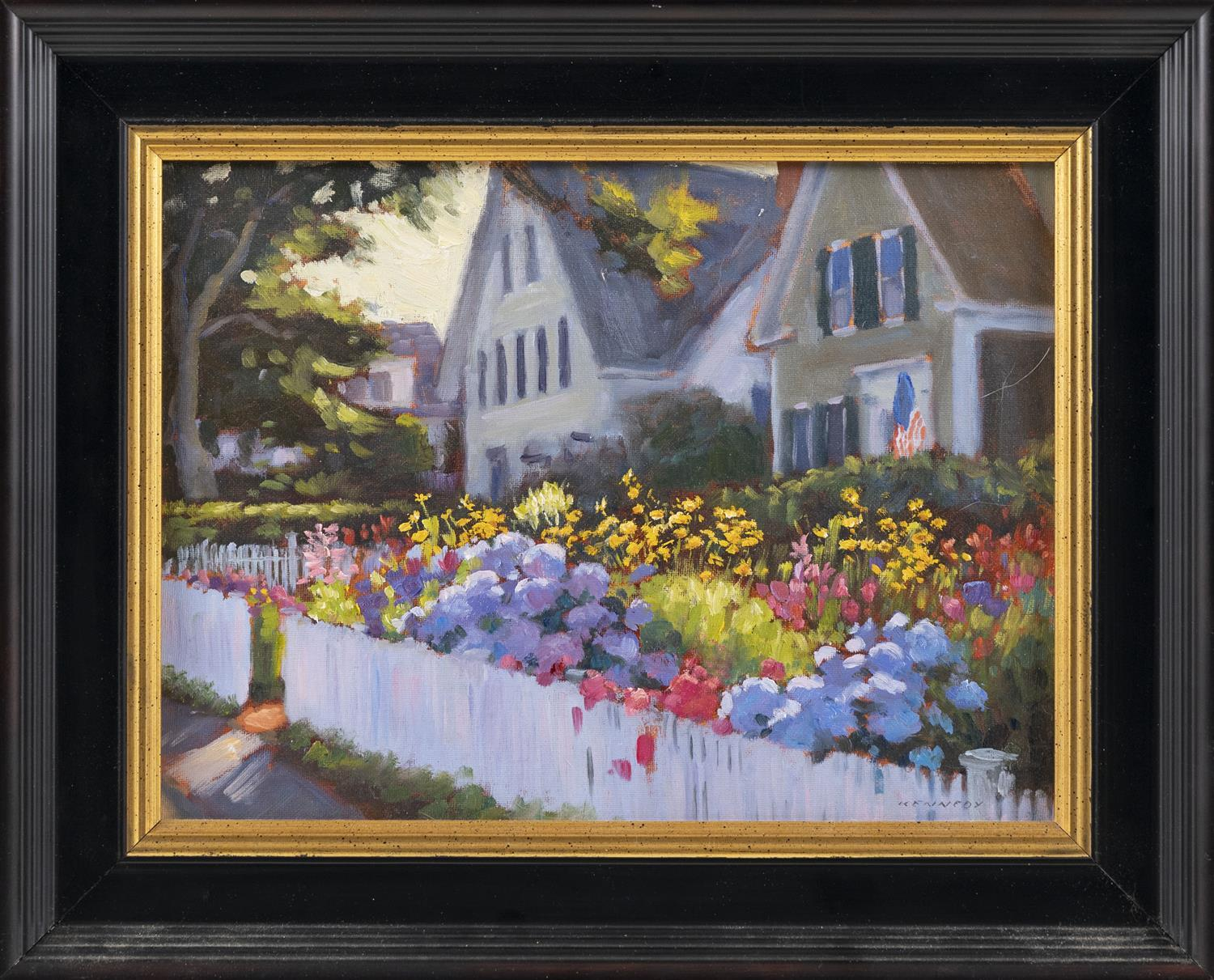 "STEVE KENNEDY, Massachusetts/Maine, Contemporary, ""Evening Garden""., Oil on canvas mounted on board, 9"" x 12"". Framed 13"" x 16""."