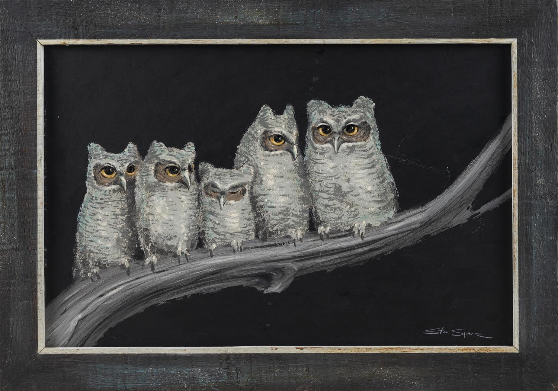 "STAN SPARRE, East Falmouth, Massachusetts, 1923-2011, Family of owl chicks., Oil on board, 15"" x 24"". Framed 20"" x 28""."