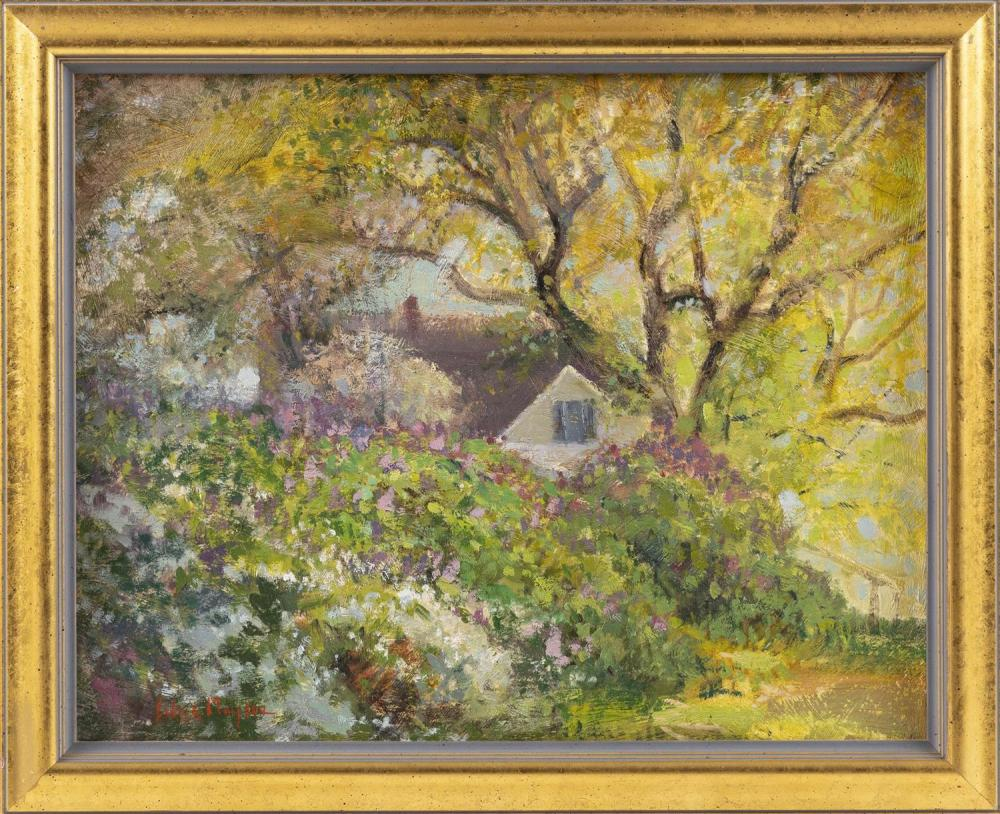 """ALICE MONGEAU, Massachusetts, Contemporary, Cottage in a summer landscape., Oil on board, 12"""" x 16"""". Framed 14"""" x 17""""."""