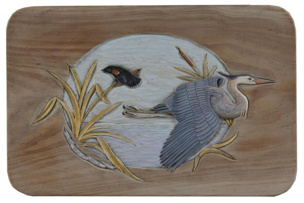"""VINCENT ZAVORSKAS, Falmouth, Massachusetts, 20th Century, """"Great Blue Heron""""., Painted wood carving, 10"""" x 15""""."""
