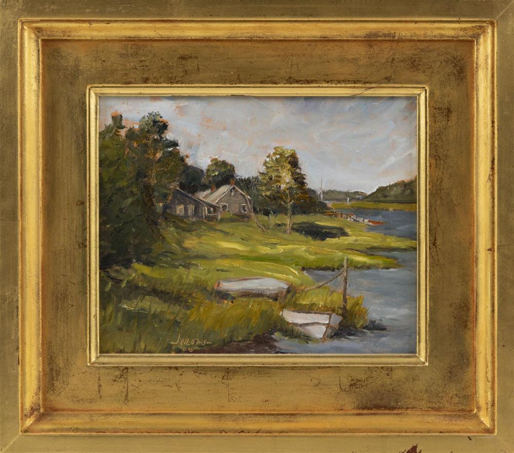 "JEROME GREENE, Massachusetts, b. 1961, ""Collins Landing""., Oil on board, 8.25"" x 10"". Framed 13.25"" x 15.25""."