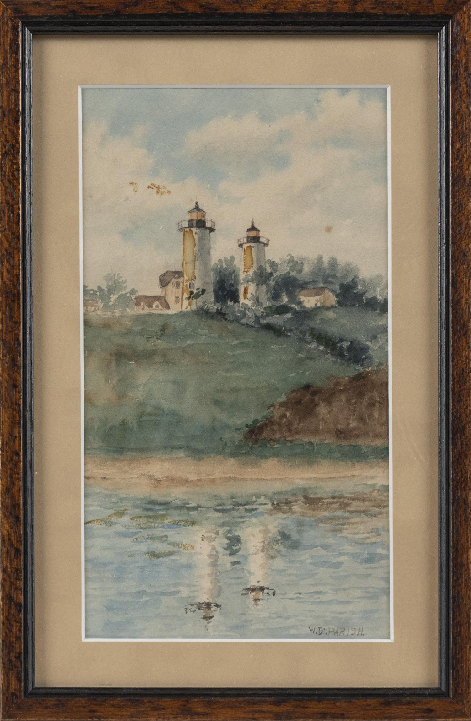 "WILLIAM DANA PARISH, Rhode Island/Massachusetts/California, 1862-1949, Twin Lights, Chatham., Watercolor on paper, 9"" x 5"" sight. Fr..."