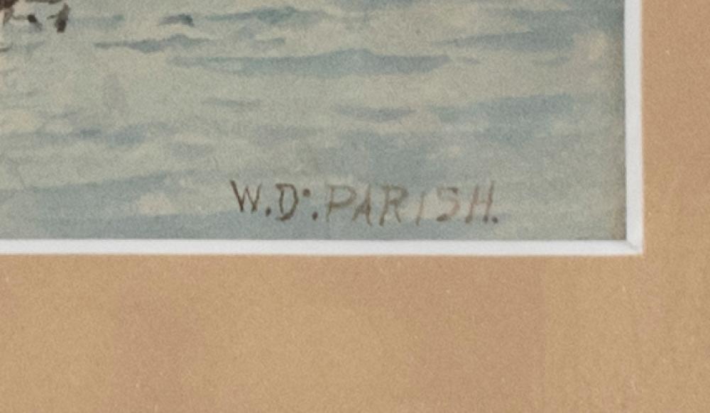 WILLIAM DANA PARISH, Rhode Island/Massachusetts/California, 1862-1949, Twin Lights, Chatham., Watercolor on paper, 9