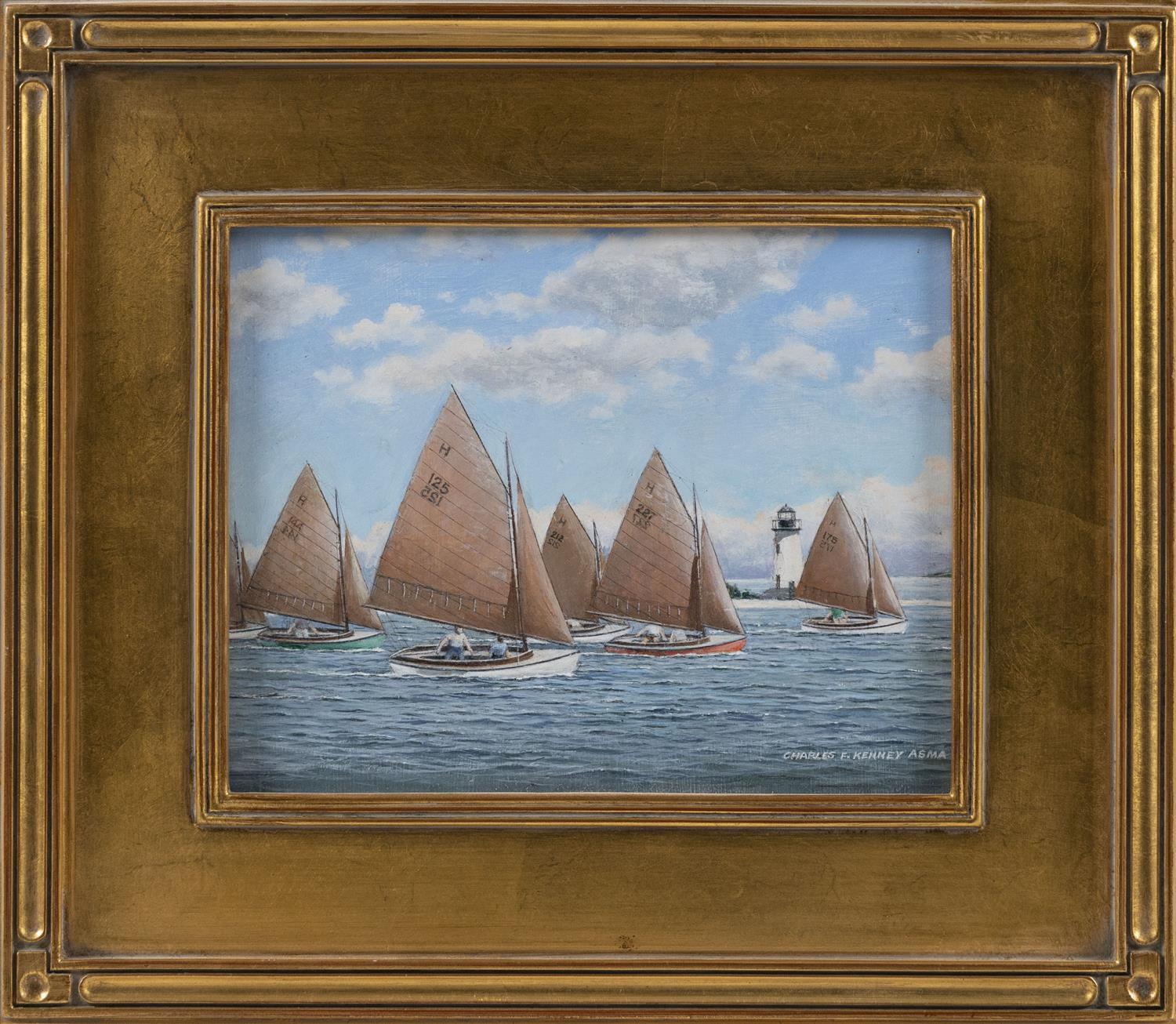 "CHARLES ""FRAN"" KENNEY, Massachusetts, 1919-2014, ""Edgartown's Tanbark Fleet""., Oil on board, 8.25"" x 10.25"". Framed 13.5"" x 15.5""."