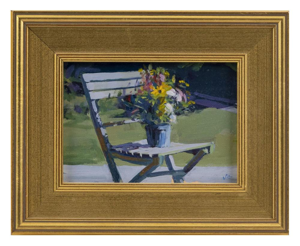 "JACK GOLDSMITH, Massachusetts, Contemporary, ""The Bouquet""., Oil on board, 5"" x 7"". Framed 9"" x 11""."