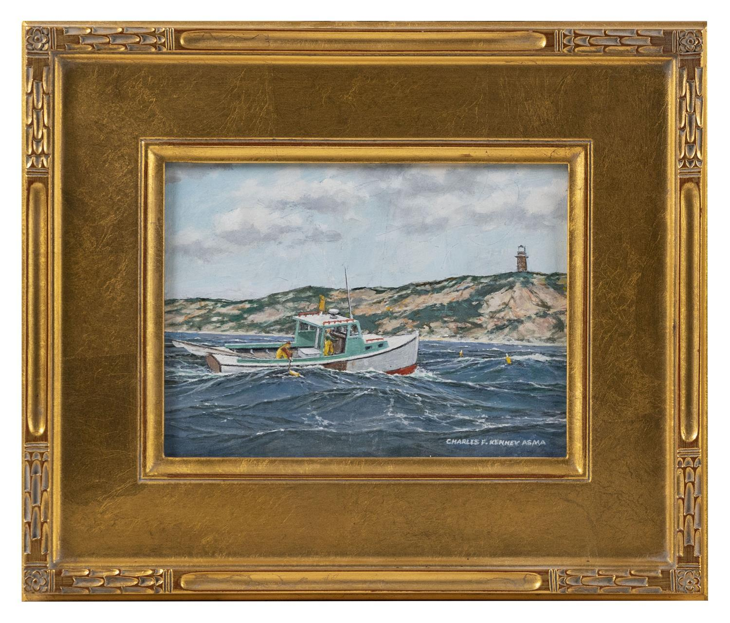 "CHARLES ""FRAN"" KENNEY, Massachusetts, 1919-2014, ""Heavy Weather off Gay Head""., Oil on board, 6"" x 8"". Framed 11"" x 13""."