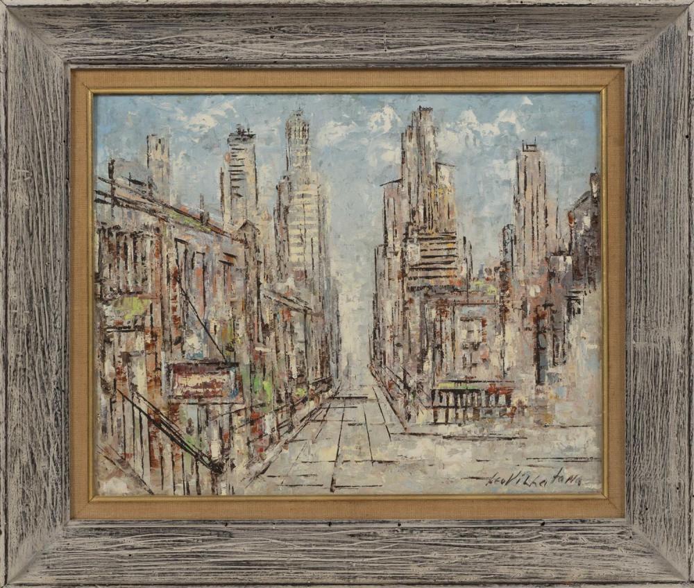 "LEO VILLAFANA, Puerto Rico/New York/Maryland, d. 1991, City street scene., Oil on canvas board, 16"" x 20"". Framed 22"" x 27""."