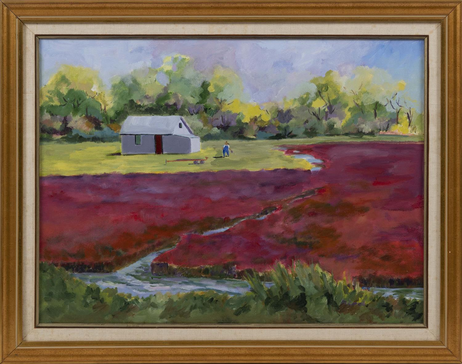 "CAPE COD SCHOOL, Contemporary, Working the cranberry bog., Oil on canvas, 18"" x 24"". Framed 23"" x 28""."