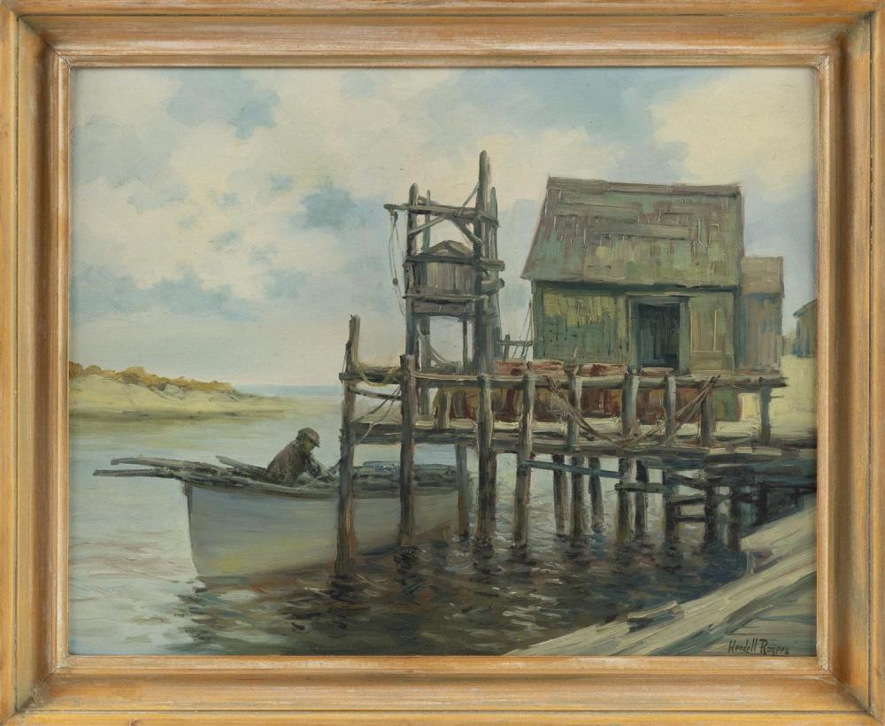 "WENDELL M. ROGERS, Massachusetts, 1890-1973, Fisherman by the pier., Oil on canvas, 16"" x 20"". Framed 19"" x 23""."