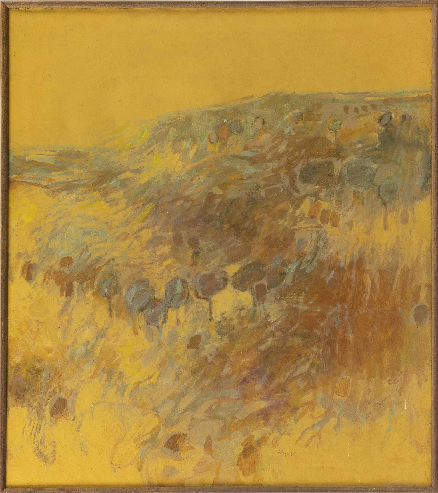"JOHN THATCHER FRAZER, Connecticut/Ohio, b. 1932, Hillside abstract., Oil on canvas, 32"" x 28"". Framed 34"" x 29""."