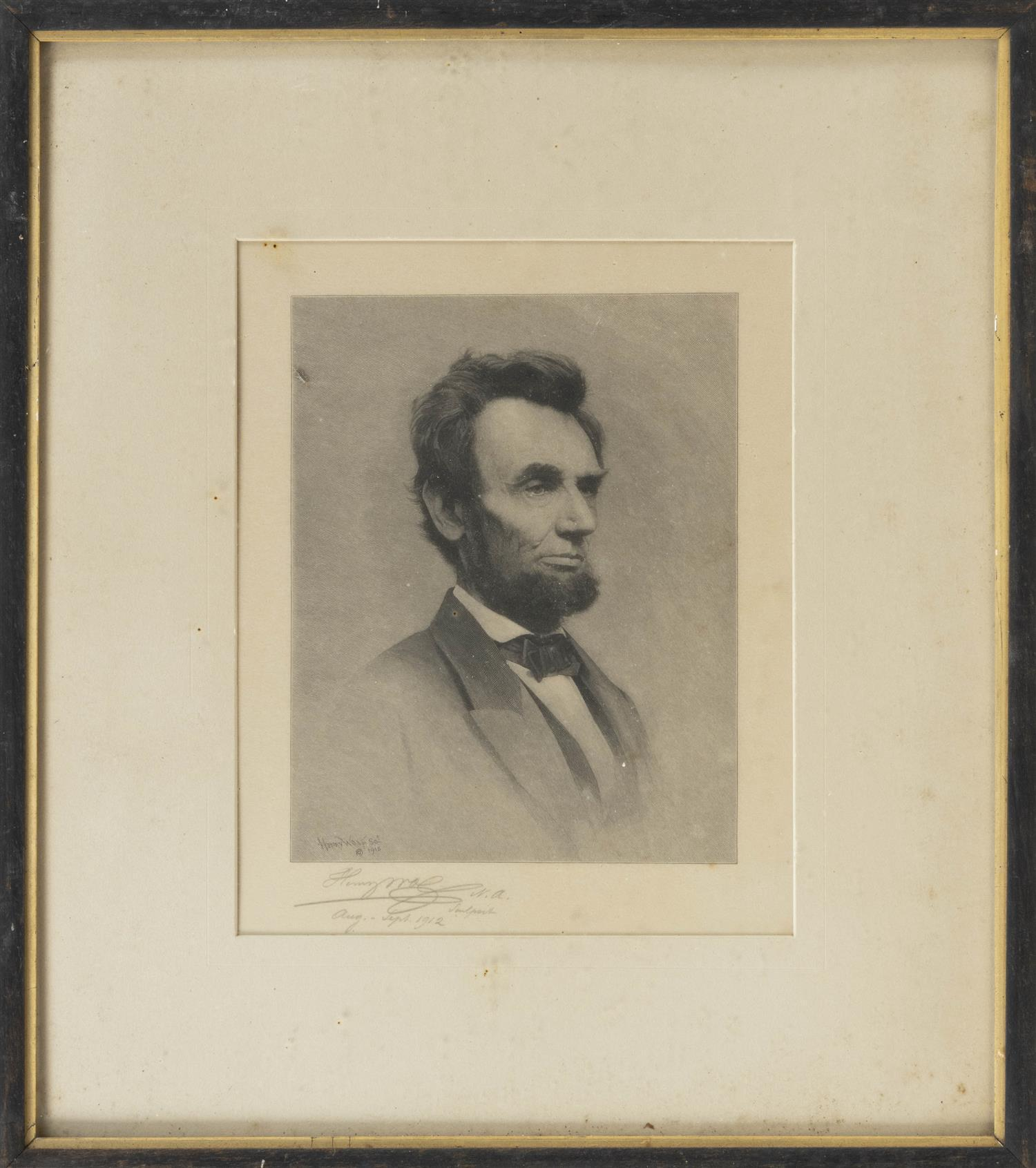 "ETCHING BY HENRY WOLF Depicts Abraham Lincoln. Signed and dated lower left ""Henry Wolf 1912"". 10"" x 8"" sight. Framed 17"" x 15""."