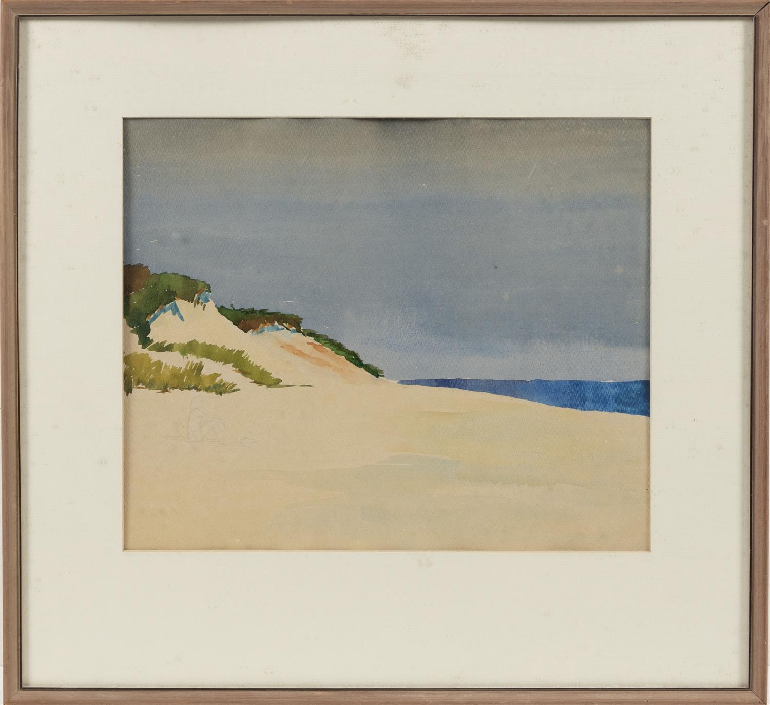 "WATERCOLOR OF A DUNE SCENE A figure penciled in lower left. Unsigned. 12.25"" x 15"" sight. Framed 20"" x 21.75""."