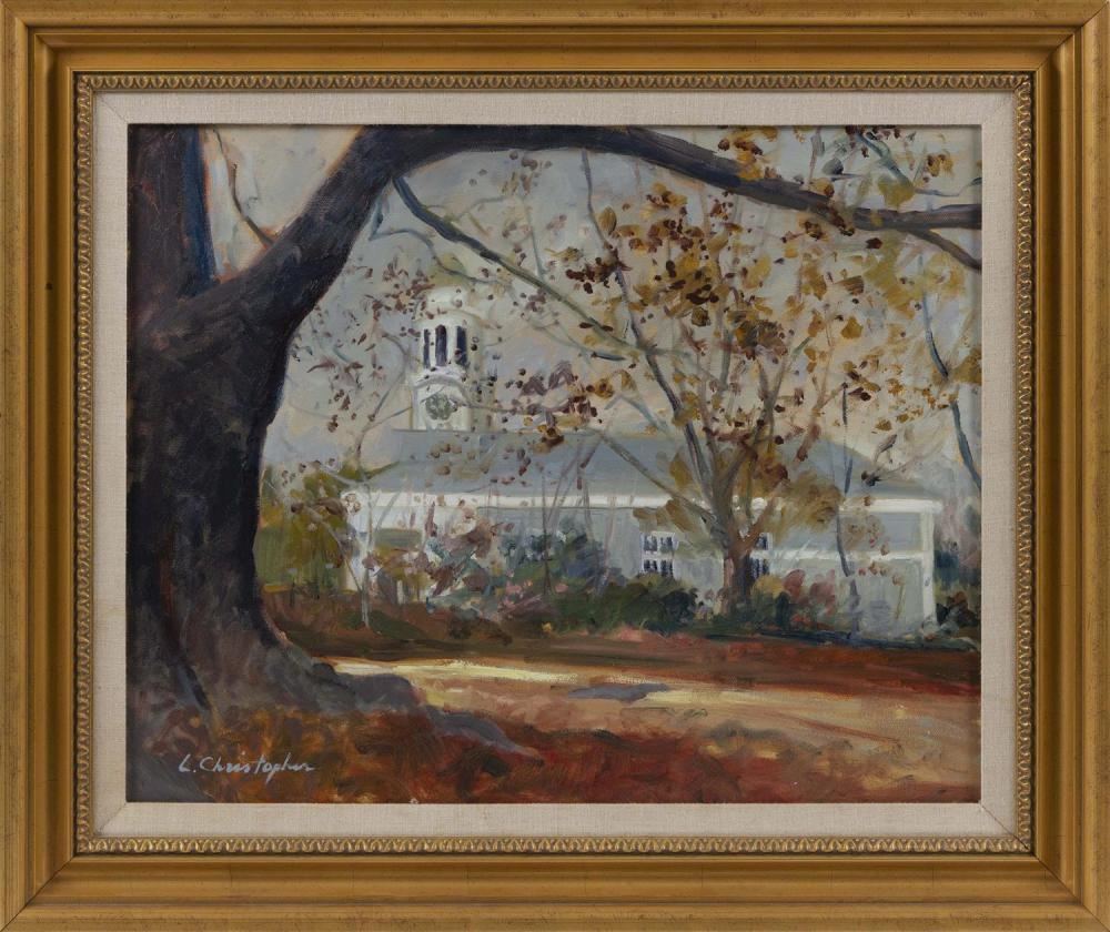 "LAVERNE CHRISTOPHER, Massachusetts, Contemporary, ""Unitarian Church of Barnstable""., Oil on canvas, 16"" x 20"". Framed 21.25"" x 25.25""."