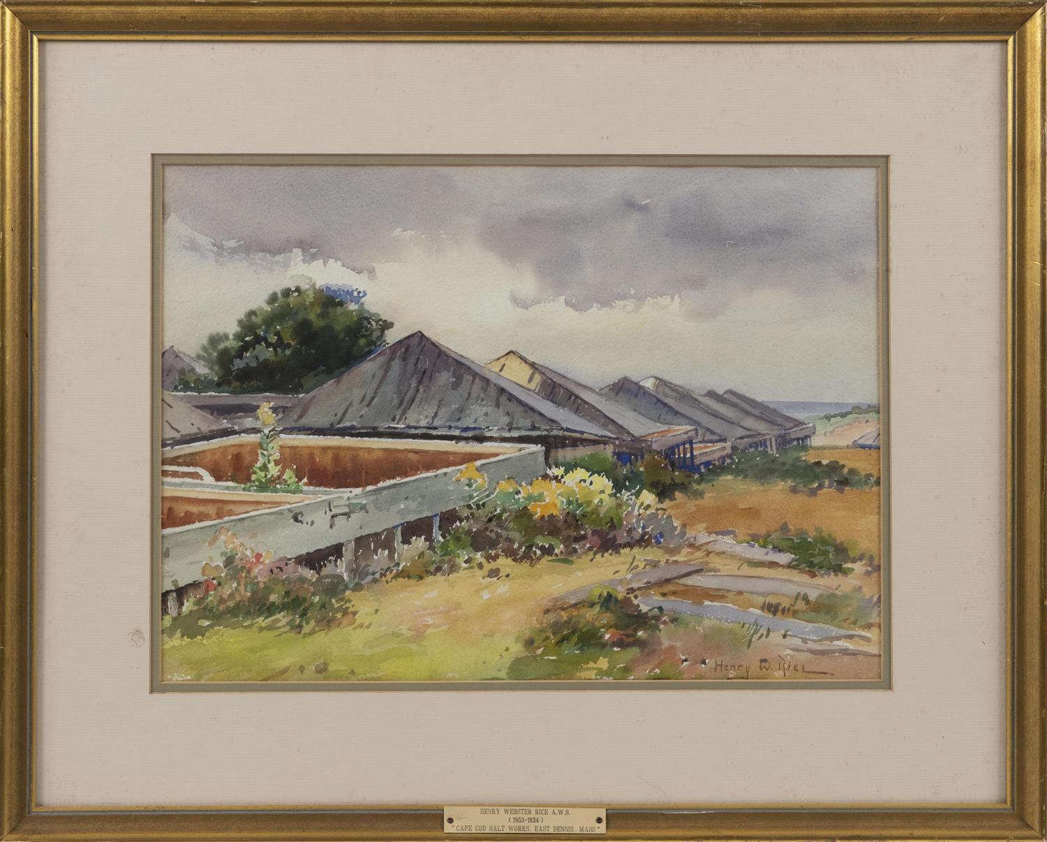 "HENRY WEBSTER RICE, Massachusetts/Maine, 1853-1934, ""Cape Cod Salt Works, East Dennis, Mass""., Watercolor on paper, 12.5"" x 17.75""...."